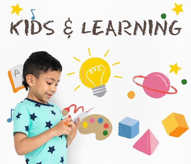 Símbolo de ícone gráfico de educação infantil infantil