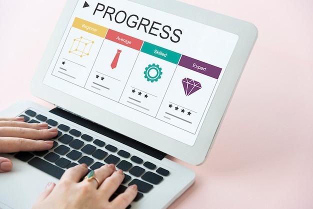Símbolo de ícone gráfico de progresso de habilidades de carreira
