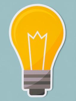Símbolo de lâmpada amarela criativa