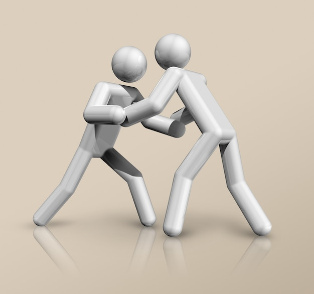 Símbolo de luta livre tridimensional, esportes olímpicos. ilustração