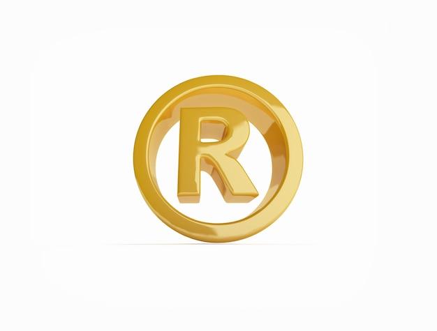 Símbolo de marca registrada em dourado na superfície branca
