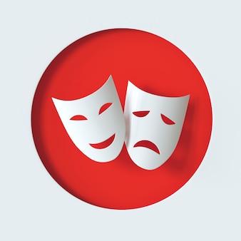 Símbolo de máscaras teatrais de comédia e tragédia ícone de máscara de teatro