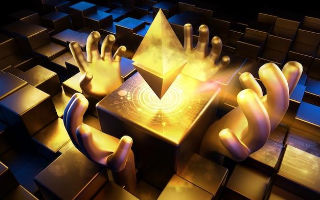 Símbolo de moeda ethereum (eth), moeda digital, ilustração 3d