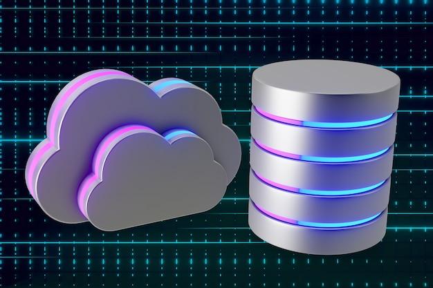 Símbolo de nuvem de ícone de prata e cilindro com brilho azul-de-rosa claro. renderização de ilustração 3d.