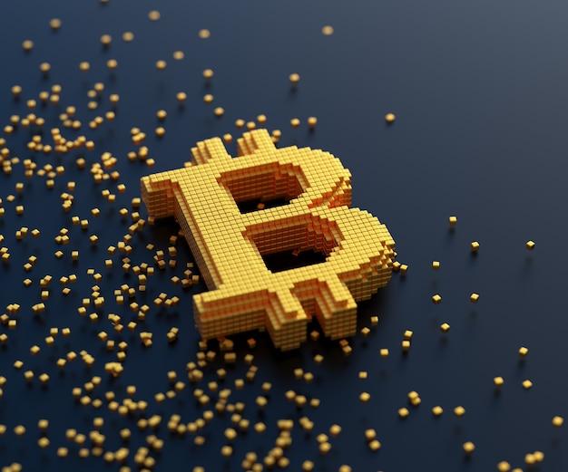 Símbolo de ouro bitcoin com conexão de caixa, negociação de moeda criptográfica e conceito de mineração