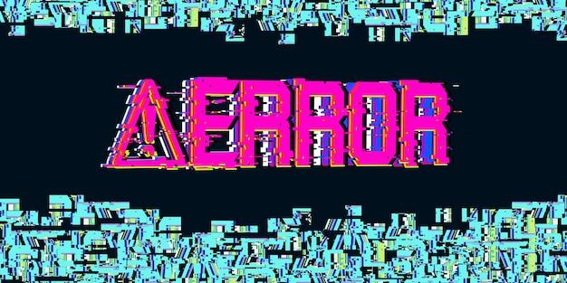 Símbolo de perigo falha do computador cor néon erro do sistema do computador