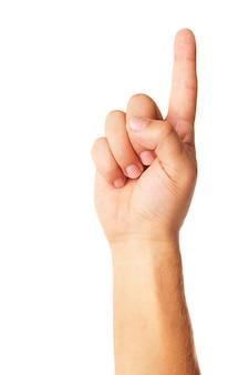 Símbolo de poiting de mão isolado no fundo branco
