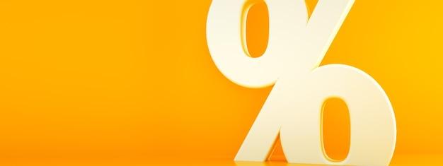 Símbolo de porcentagem 3d sobre fundo laranja, imagem panorâmica com espaço para texto