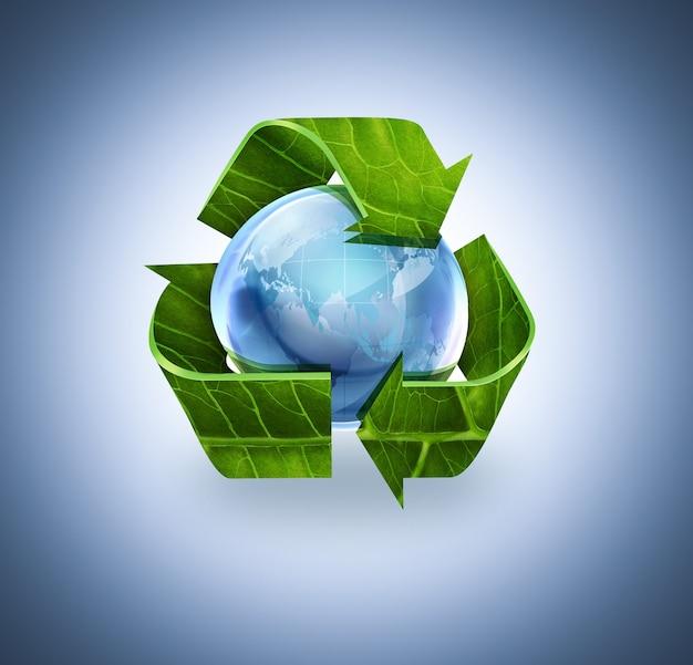 Símbolo de reciclagem com textura de folha e mundo em fundo azul