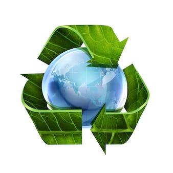 Símbolo de reciclagem com textura de folha e mundo em fundo branco
