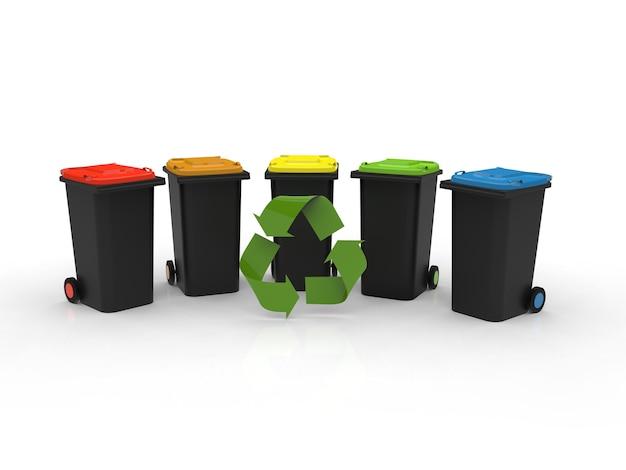 Símbolo de reciclagem na frente de latas de lixo