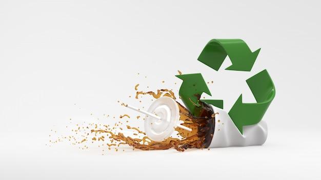 Símbolo de reciclagem verde com água de respingo no fundo branco 3d render