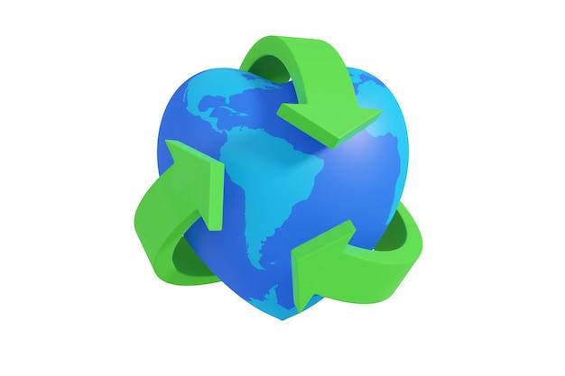Símbolo de reciclagem verde em torno de um planeta terra em forma de coração