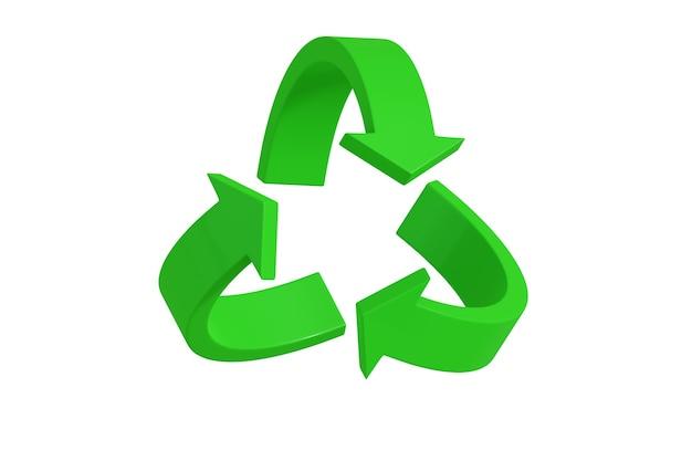 Símbolo de reciclagem verde em três dimensões isoladas em branco.