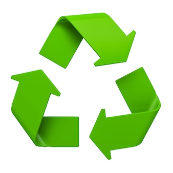 Símbolo de reciclagem verde isolado no branco