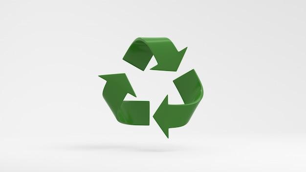 Símbolo de reciclagem verde sobre fundo branco, 3d, render