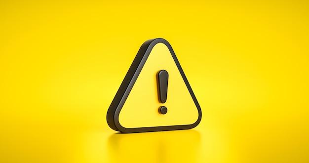 Símbolo de sinal de aviso amarelo ou alerta segurança perigo cuidado ilustração ícone mensagem de segurança e ícone de informações de triângulo de exclamação no fundo do tráfego de atenção com alarme seguro. 3d render.