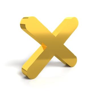 Símbolo de sinal rejeitado. cruz de ouro nenhum ou conceitos errados no branco. isolado. ícone de sinal rejeitado. renderização tridimensional, renderização em 3d.