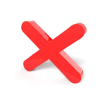 Símbolo de sinal rejeitado. cruz vermelha não ou conceitos errados no branco. isolado. ícone de sinal rejeitado. renderização tridimensional, renderização em 3d.