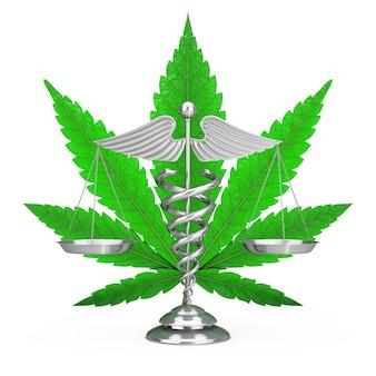 Símbolo do caduceu médico como escalas na frente da folha de cânhamo ou maconha medicinal em um fundo branco. renderização 3d