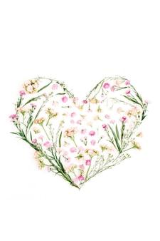 Símbolo do coração feito de flores silvestres, plano de fundo do dia dos namorados