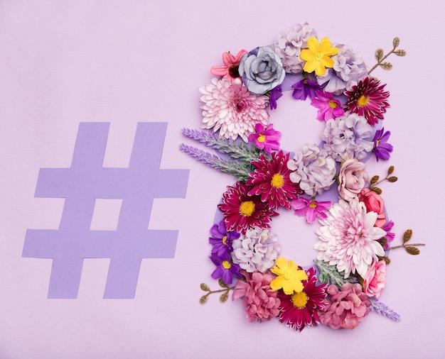 Símbolo do dia da mulher floral colorido