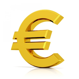 Símbolo do euro isolado no fundo branco