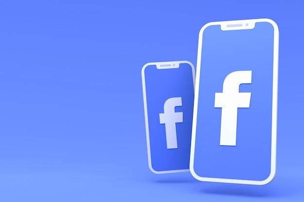 Símbolo do facebook na tela do smartphone ou celular com copyspace vazio
