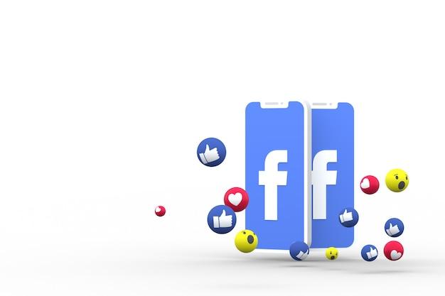 Símbolo do facebook na tela do smartphone ou celular e as reações do facebook em 3d render