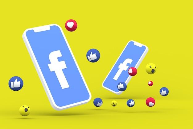 Símbolo do facebook na tela do smartphone ou nas reações do celular e do facebook amam, uau, como emoji 3d render