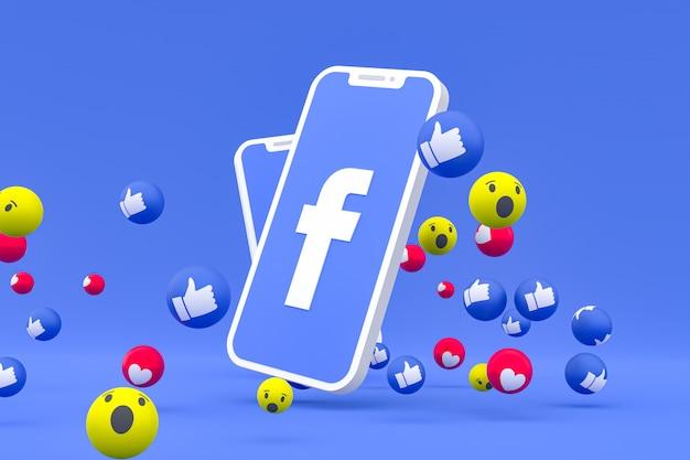 Símbolo do facebook na tela smartphone ou celular e reações no facebook amor, uau, como emoji render 3d