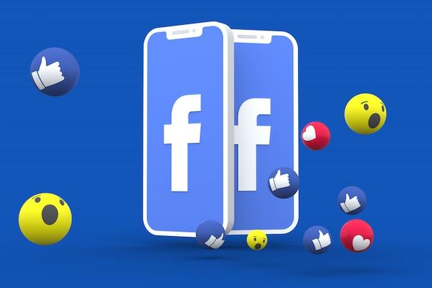 Símbolo do facebook na tela smartphone ou celular e reações no facebook amor, uau, como emoji render 3d Foto Premium