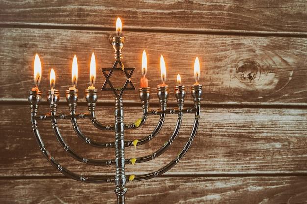 Símbolo do feriado judaico hanukkah, o festival judaico das luzes