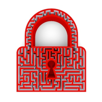 Símbolo do ícone de bloqueio com fechadura e um labirinto. renderização 3d
