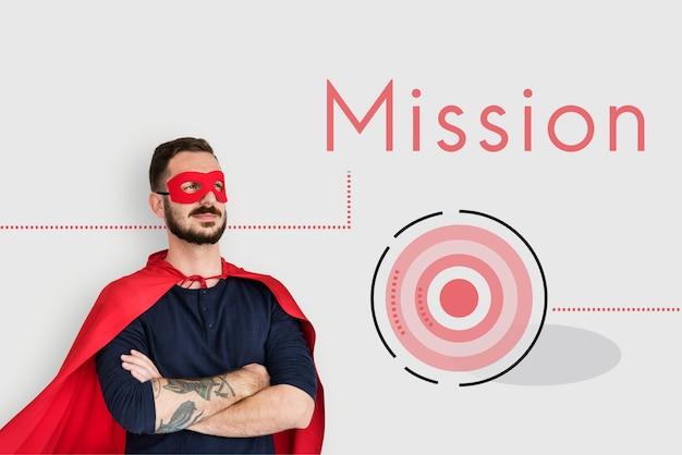 Símbolo do ícone de estratégia do plano de missão da meta de realização empresarial