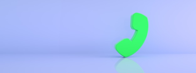 Símbolo do telefone sobre fundo azul, renderização 3d, imagem panorâmica