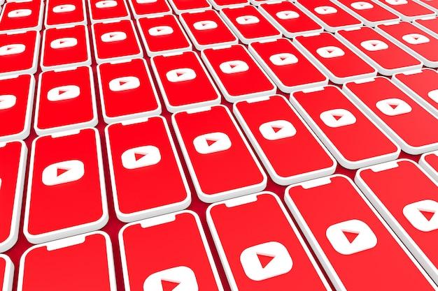 Símbolo do youtube na tela smartphone ou render 3d móvel
