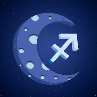 Símbolo do zodíaco sagitário com a lua 3d