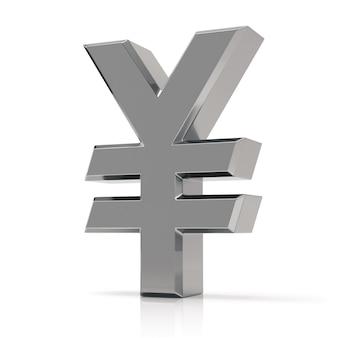 Símbolo dos ienes de prata. sinal de ienes japoneses isolado no fundo branco.