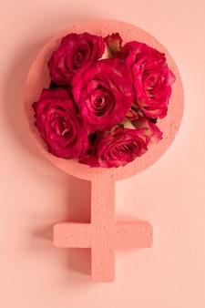 Símbolo feminino com rosas para o dia da mulher