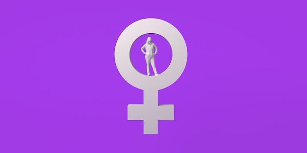 Símbolo feminino e mulher dentro do dia internacional pela eliminação da violência contra a mulher