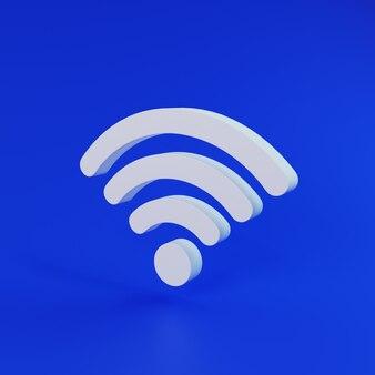 Símbolo isométrico branco de internet sem fio em fundo azul