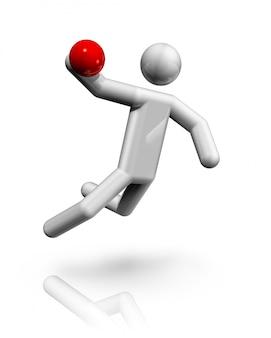 Símbolo tridimensional de handebol, série de esportes olímpicos