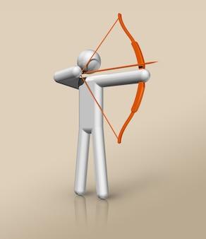 Símbolo tridimensional do arco e flecha