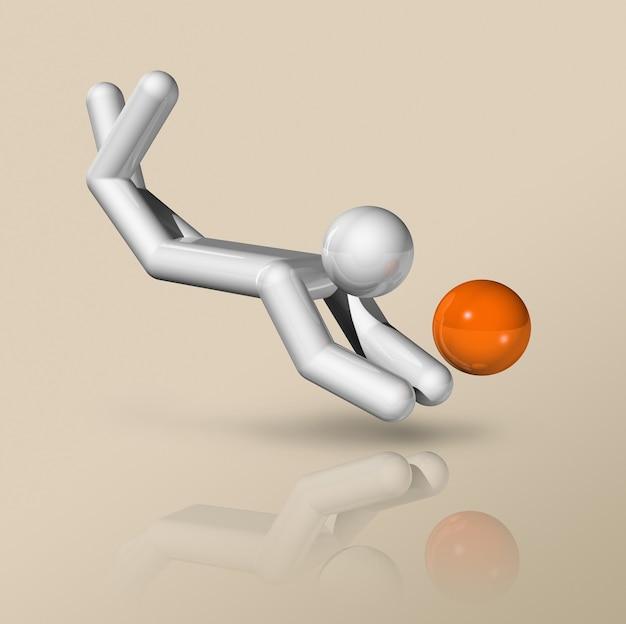 Símbolo tridimensional do voleibol de praia, esportes olímpicos.