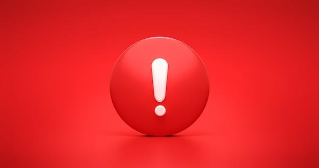 Símbolo vermelho do ícone de aviso de urgência e mensagem de advertência de segurança de alerta ou sinal de segurança de perigo de exclamação no fundo de ilustração de marca segura de risco de erro com alarme de atenção de parada de sinal de advertência. 3d render.