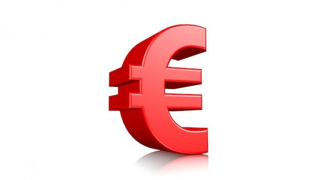 Símbolo vermelho do sinal 3d euro isolado no fundo branco. 3d rendido