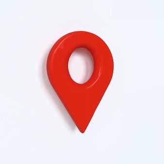 Símbolo vermelho pontual com efeito 3d geo pin vermelho como logotipo em fundo branco
