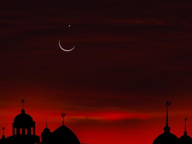 Símbolos da religião ramadan kareem. mesquitas cúpula na noite de crepúsculo com lua crescente e fundo preto escuro do céu. para o conceito de eid al-fitr, árabe, eid al-adha.
