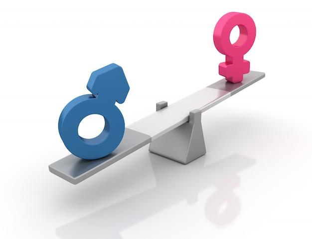 Símbolos de gênero equilibrando em uma gangorra